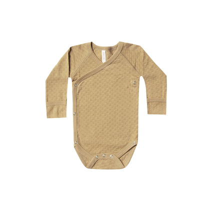 Quincy Mae Pointelle Kimono Onesie in Honey