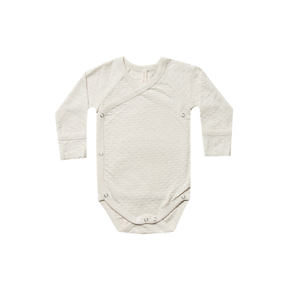Quincy Mae Pointelle Kimono Onesie in Pebble