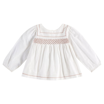 Little Cotton Clothes Charlotte Hand Smocked Blouse