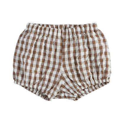 Little Cotton Clothes Poppy Bloomers in Nut Brown Gingham
