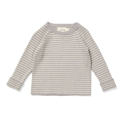 Konges Slojd Meo Cotton Sweater in Powder Blue Stripe