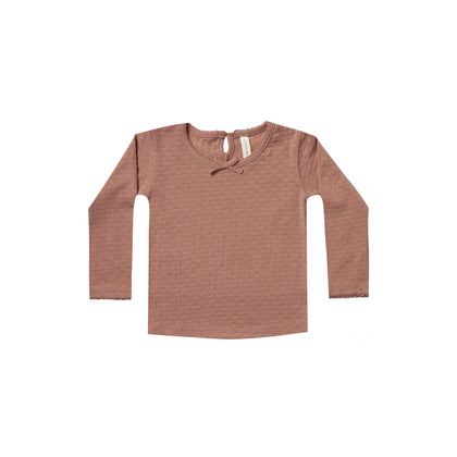 Quincy Mae Pointelle Longsleeve Tee in Clay