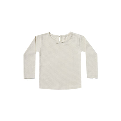 Quincy Mae Pointelle Longsleeve Tee in Pebble