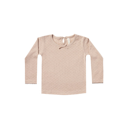 Quincy Mae Pointelle Longsleeve Tee in Rose