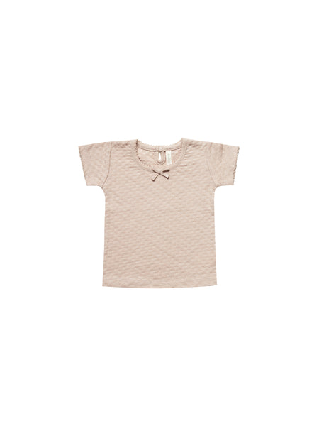 Quincy Mae Pointelle Tee in Rose