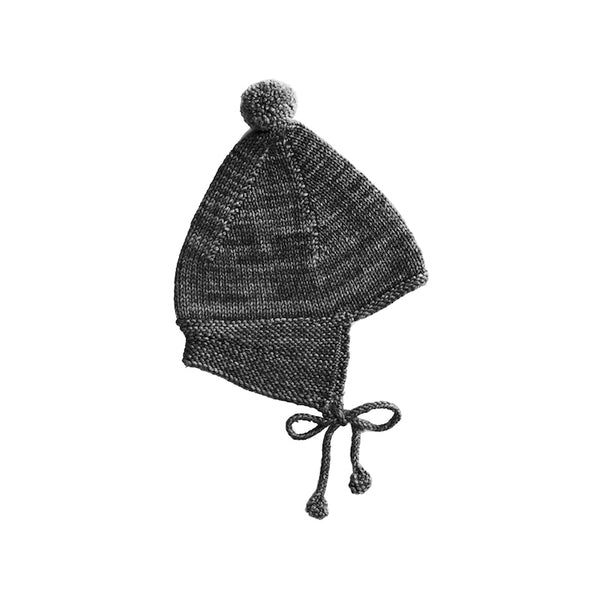 Misha and Puff Pointy Peak Hat organic apparel for baby in Charcoal.