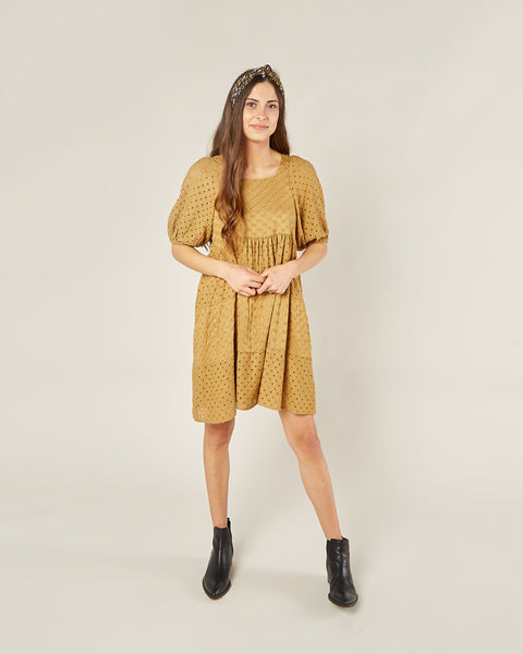 Rylee & Cru Women's Greta Babydoll Dress in Goldenrod
