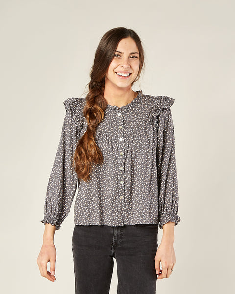 Rylee & Cru Women's Ditsy Rooney Blouse in Washed Indigo