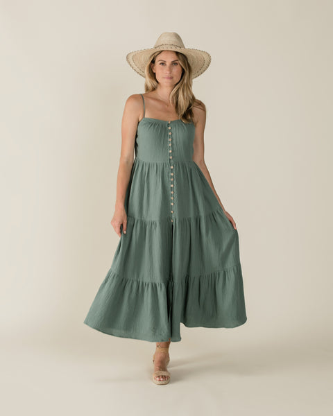 Rylee & Cru Womens Tiered Maxi Dress in Rainforest