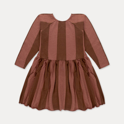 Repose AMS Skater Dress in Gold Stripe