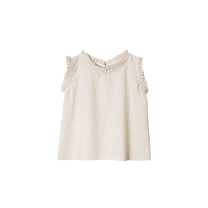 Go Gently Ruffle Tank in Natural