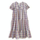 Nico Nico Isabelle Tiered Dress in Cream Plaid