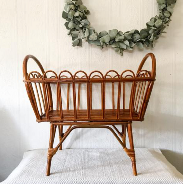 Rattan Doll Bassinet - Vintage French Style
