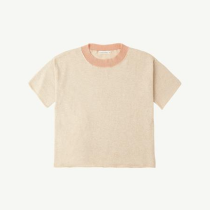 Summer & Storm Flat Knit Tee - Natural & Coral