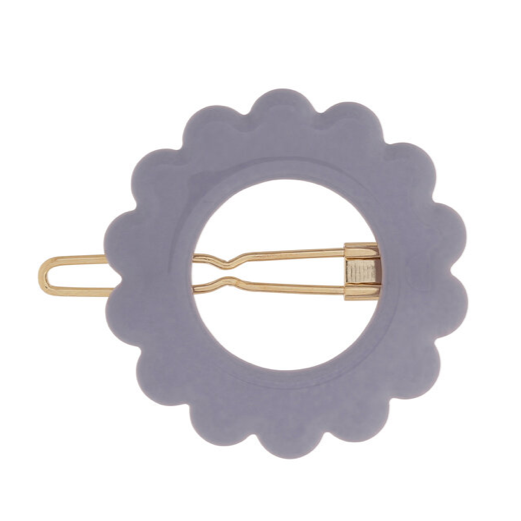 Daisy Barrette in Deep Blue, Tan and Pale Yellow