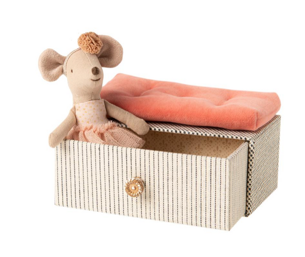 Maileg Little Sister Dancing Mouse in a Day Bed