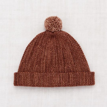 Misha and Puff Garter Hat in Chestnut