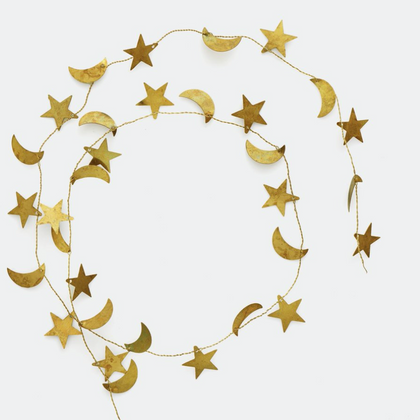 Fog Linen Brass Moon & Star Garland