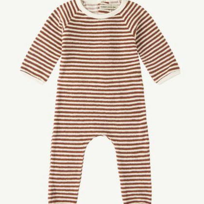 Summer & Storm Back Snap Terry Romper in Rust Stripe