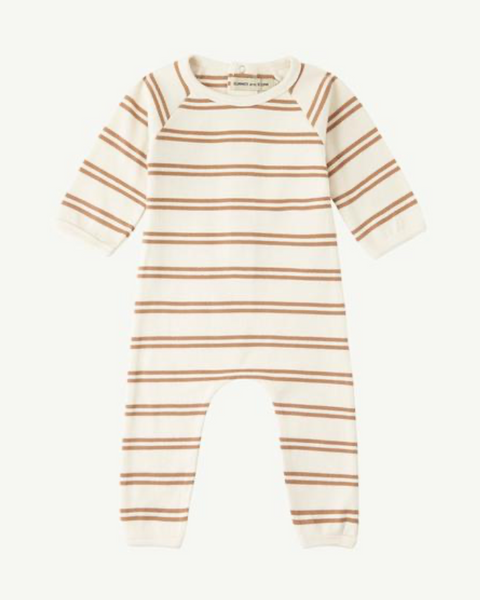 Summer & Storm Back Snap Ribbed Romper Tan Stripe