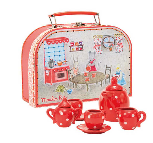 Moulin Roty - Red Ceramic Tea Set