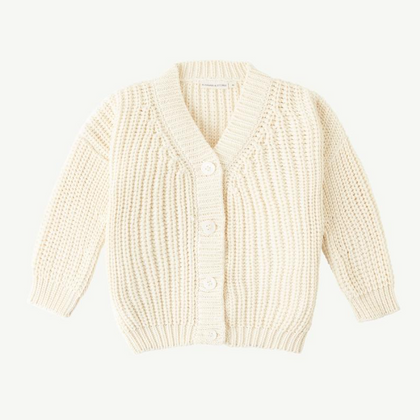 Summer & Storm Chunky Cotton Cardigan - Snow
