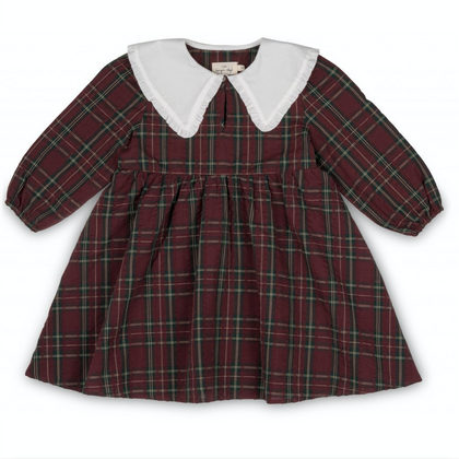 Konges Holly Dress in Bordeaux Check