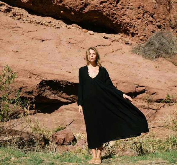 Natalie Martin Fiore Maxi Dress in Black Cotton Gauze