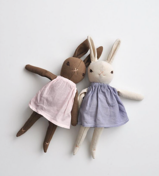 Polka Dot Club Little Sister Rabbit in Cream and Brown