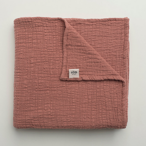 Som New York Swaddle Blanket in Coral