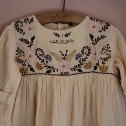 Bonjour Diary Embroidered Dress in Vanilla