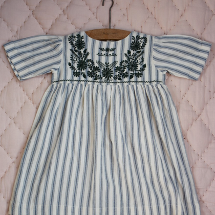 Bonjour Diary Embroidered Dress in Mattress Stripe