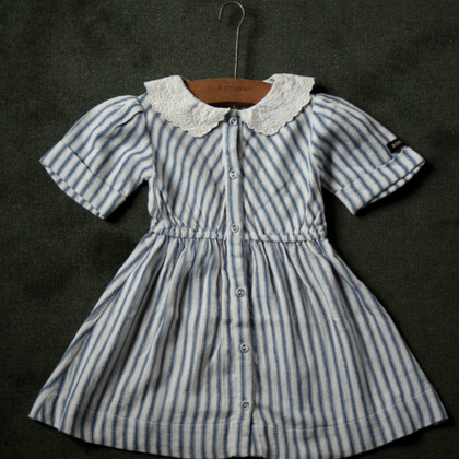Bonjour Diary Vintage Dress with Collar in Mattress Stripe