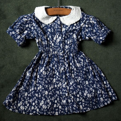 Bonjour Diary Vintage Dress with Collar in Indigo Flower