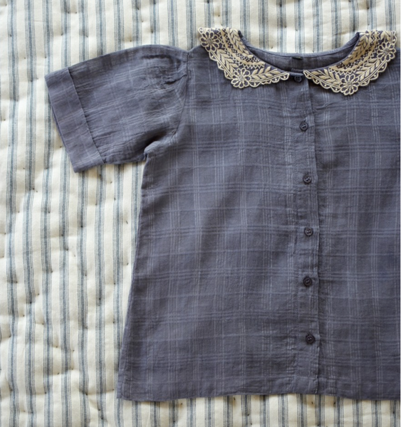 Bonjour Diary Vintage Blouse with Collar in Blue