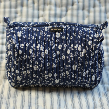 Bonjour Diary Toiletries Bag in Indigo Flowers
