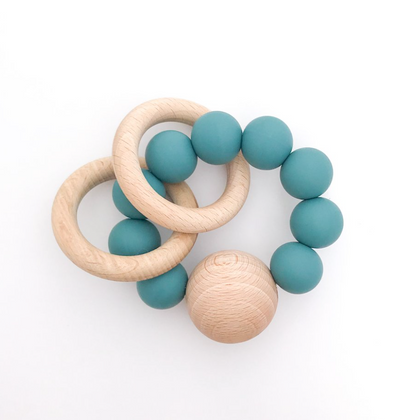 Dove and Dovelet Saturn Teether in Teal