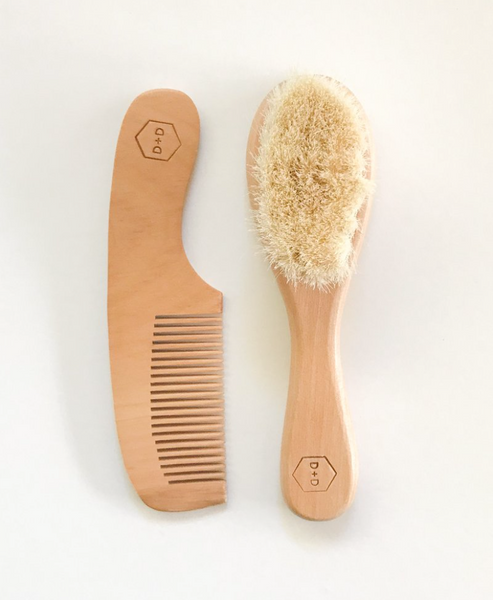 Dove and Dovelet Wooden Baby Brush Set