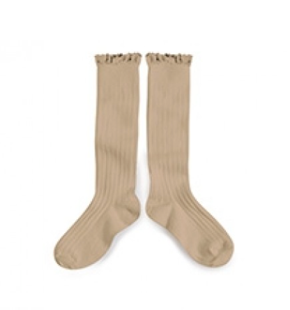 Collegien Lace Trim Knee Highs - Taupe