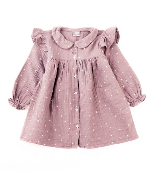 Tocoto Vintage Baby Stars Dress in Pink