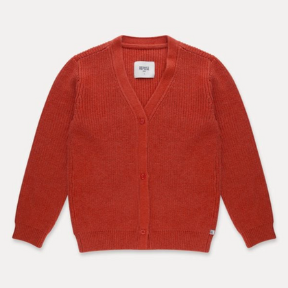 Repose V Neck Cardigan in Smoke Red