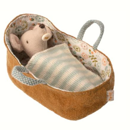 Maileg Baby Mouse in a Carrycot