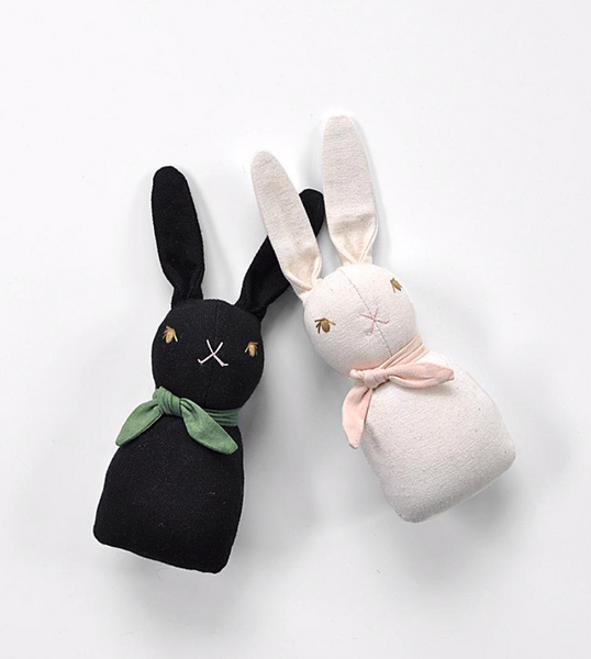 Polka Dot Club Rabbit Rattle - Black
