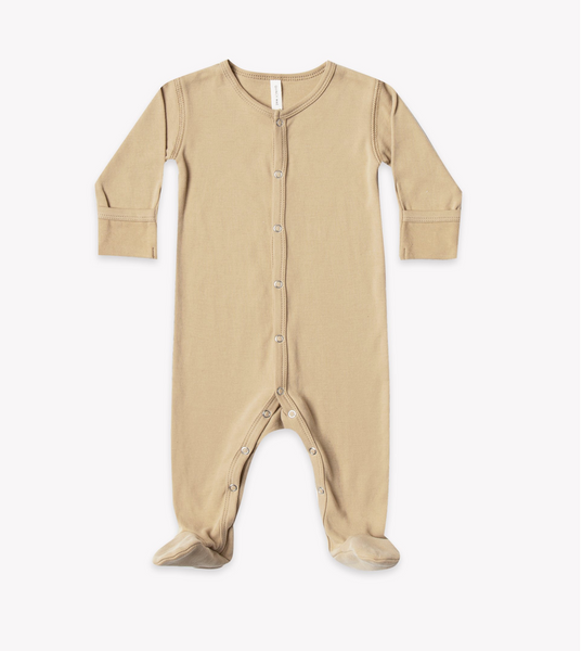 Quincy Mae Organic Full Snap Footie in Honey