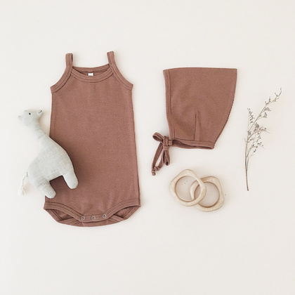 Quincy Mae Organic Ribbed Tank Onesie in Clay