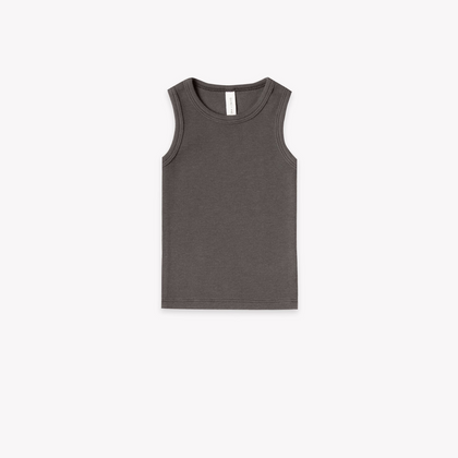 Quincy Mae Organic Ribbed Baby Tank in Coal