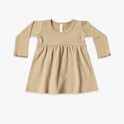 Quincy Mae Organic LS Baby Dress in Honey