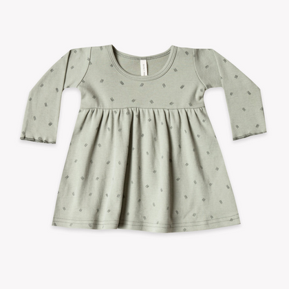 Quincy Mae Organic LS Baby Dress in Sage