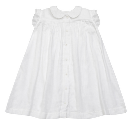 Little Cotton Clothes Bobby Dress in White Muslin