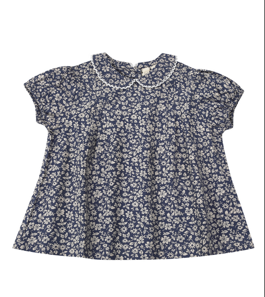 Little Cotton Clothes Mabel Blouse in Blue Floral